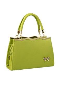New Trendy Leather Women Handbag Ladies Top-Handle Bag Golden Hardware with Bowknot Decor (Green) - INTL
