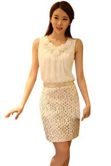 Women's Summer Casual Sleeveless Plus Size Blouse White (EXPORT) (Intl)