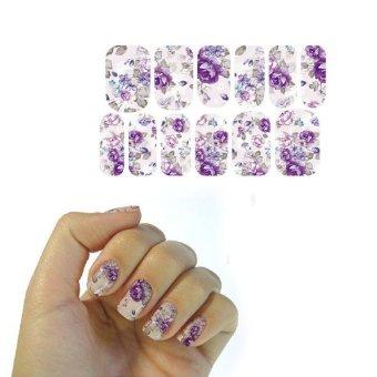 BUYINCOINS Water Transfer Nails Foil Art Sticker Gray Purple Flowers Design Harajuku Decor