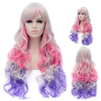 Cosplay Wig Purple Pink Grey Euramerican Style Long Curly Hair Wig- Intl