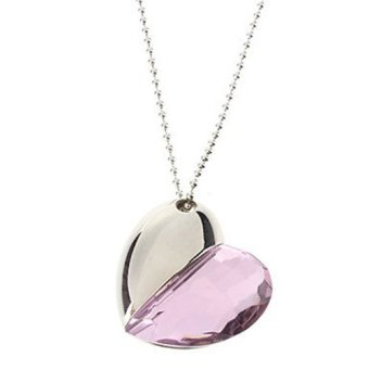64GB Shiny Crystal Heart Shape USB Flash Drive with Necklace(Light pink) (Intl)