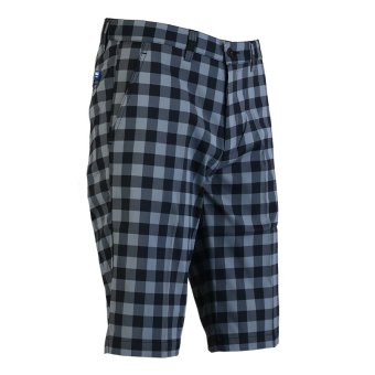 PGM Men's Golf Plaid Shorts Quick Dry Sport Trousers Summer Breathable Short XXS-3XL(Black and Grey) (Intl)