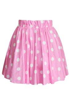Toprank Women Dot Short Skirt High Waist Candy Pleated Skirts Girl Midi Skater ( Pink )