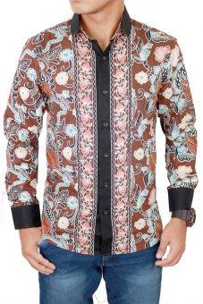 Gudang Fashion - Kemeja Batik Lengan Panjang Slim Fit - Coklat