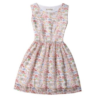 Fashion Women Slim Printing Dress Summer Sleeveless Dress (White+Multicolor) Intl - Intl