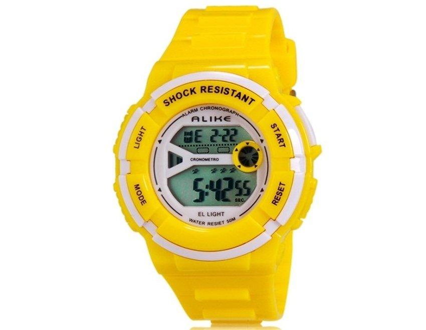 harga ALIKE A14103 Kids Multi-functional 50M Waterproof Sports LED Electronic Wrist Watch with Stopwatch Night Light & Alarm Clock Function (Yellow) (Intl) Lazada.co.id