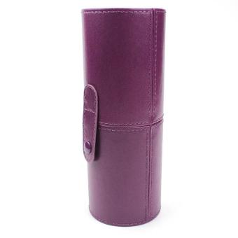 Travel Leather Cosmetic Brush Pen Holder (Purple)- Intl