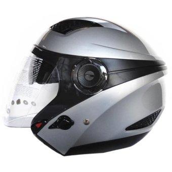 Zeus Helm Half Face Double Visor ZS-610K Polos- Titanium