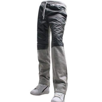 Clothingloves Patchwork Mid Waist Cotton Straight Mens Pants (LightGray)