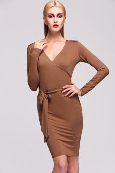 Jo.In Stylish High Quality Lady Women's Formal New Fashion Long Sleeve V-neck Sexy Dress S-XL (Coffee) - Intl