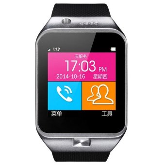 GV09 Smart Watch Metal Frame Phone with Camera SIM TF Card Support Android (Silver)(INTL)