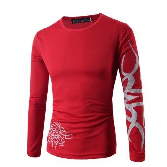 Men's T-Shirts long sleeve novelty dragon printing tattoo RED - Intl