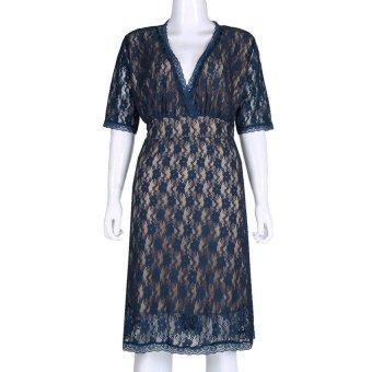 MEGA Women Lace Bodycon Slim Mini Dress Blue - INTL