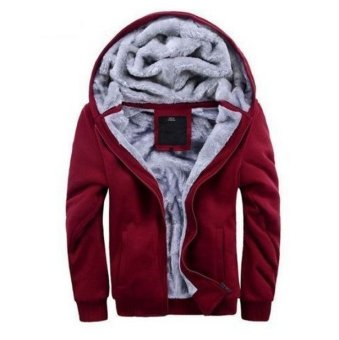 Men's Winter Sweatshirts Jackets Thick Velvet Hooded Zip Coat Hoodies (Intl)