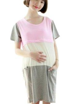 harga Chloe's Clozette Baju Hamil dan Menyusui Gaun Dress Terusan Kode BH 21- Pink Grey Lazada.co.id