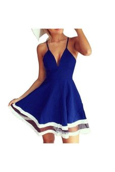 Deep-V Lacework Spaghetti Strap Dress Blue