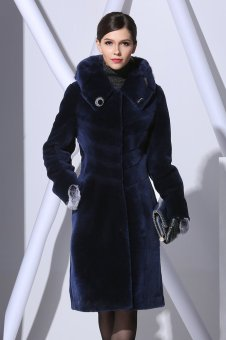 URSFUR Genuine Shearling Lamb Fur & Leather Patchwork Coat With Hoods M Navy Blue - Intl