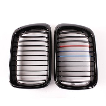 Pair Front Gloss Black M Style Kidney Grille Grill For BMW E36 M3 3 Series 97-99 - Intl