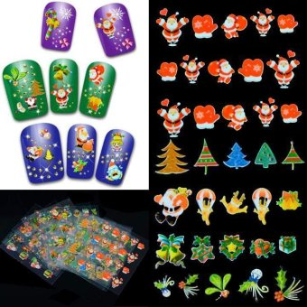 Happycat 12Pcs Chrisas Presents Santa Trees Design Nail Art Stickers Decals DIY Decoration G_T (Natural Color) (Mix Size.) (Intl)
