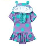 2-7 Years Child Little Girl Swimwear Bathing Suit Kids Girls One-piece Swimsuit Cartoon Bikini Bodysuit (Purple) (Intl)