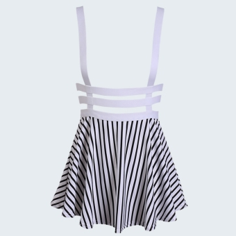 Yidabo Korean Women's Girl Hollow Out Strap Pleated Dress ( White Striped ) - INTL