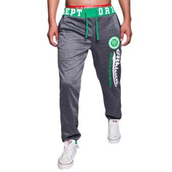 EOZY FASHION Men Sport Sweat Pants Korean Style Male Casual Pants Stylish Training Running Jogging Trousers Slacks (Deep Grey) (Intl)