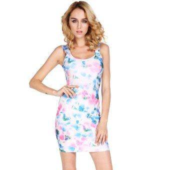 Cyber Women's Sleeveless Flower Printing Bodycon Bandage Dress Sundress Club Party Dress (Intl)