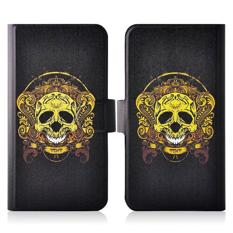 Golden Skull Smile PU Leather New Flip Case Cover For HTC Sensation XE G18 G14 Z715E Z710T