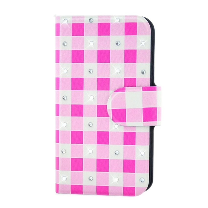 Rhinestone Pink And White Square Design Card Slot Magnetic PU Leather Flip Case Cover Compatible For LG Nexus 4 E960