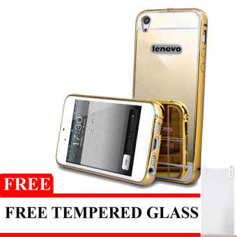 Kekurangan Case Aluminium Bumper Mirror for Lenovo A6000 Gold Gratis Tempered Glass dan .