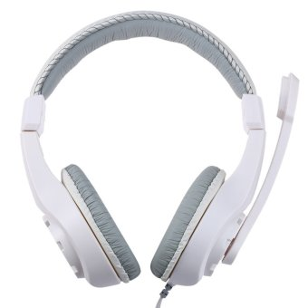 Over-ear Gaming Headsets Earphones Headphones with Mic Stereo Bass for PC Games (White)- Intl