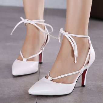 Womens Pointed Stiletto PU Korean Ankle Strap Heels with Checkered White - INTL