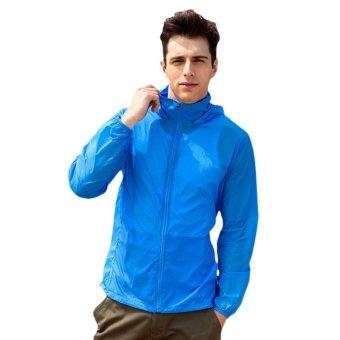 EOZY Fashion Men's Sun-protective Clothing Korean Style Male Windproof Waterproof Jacket Ultra-thin Ultra-light Summer Outdoor Sports Coats (Dark Blue) - INTL