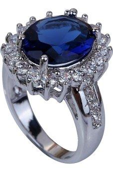 harga Yazilind Oval Cut Sapphire Quartz ad White Topaz Gemstone Silver Ring Blue Lazada.co.id