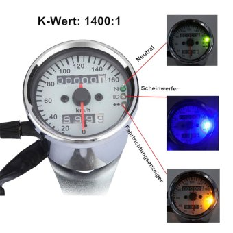 2016 Motorcycle LED Light Tachometer Tacho Odometer speedometer indicator light - Intl