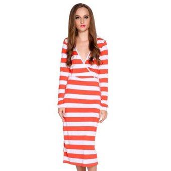 Cyber Striped Slim Elastic Casual Dress (Orange) (Intl)