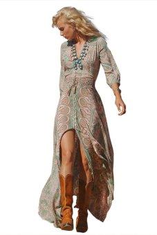 Floral Print Elastic Waist Women Maxi Dress - Intl