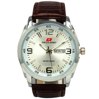 harga Swiss Army G2021-TH Jam Tangan Pria Strap Leather Silver Coklat Lazada.co.id