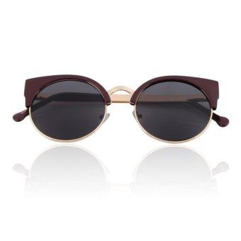 Allwin Unisex Men Women Girl Fashion Vintage Cat Eye Sunglasses Round Semi Rimless (Red and Gold)