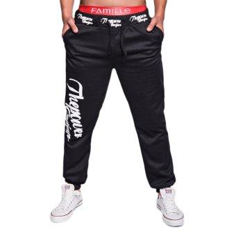 EOZY FASHION Men Sport Sweat Pants Korean Style Male Casual Baggy Outdoor Sports Dance Training Running Jogging Trousers (Black) (Intl)