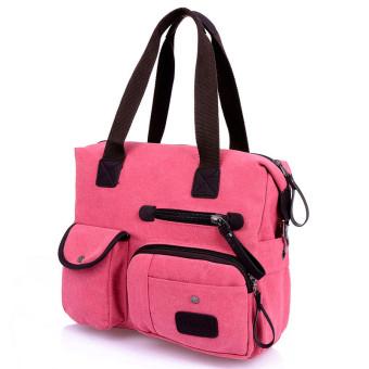 Men Women Vintage Canvas Bag Shoulder Messenger Handbag Red - INTL