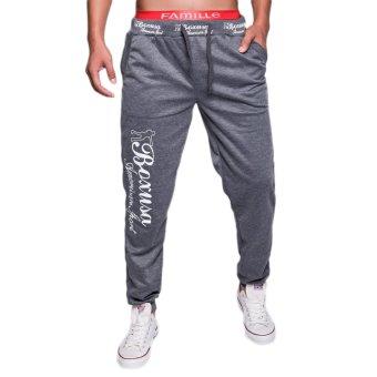 EOZY FASHION Men Sport Sweat Pants Korean Style Male Loose Casual Pants Stylish Baggy Dance Training Running Jogging Trousers (Deep Grey) (Intl)