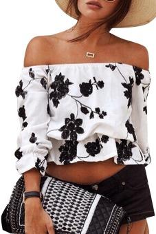 Azone Women Off Shoulder Flower Loose Casual Crop Tops Blouse (Intl)