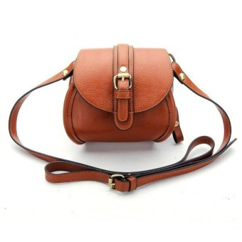 Women PU Leather Belt Decorated Double Zipper Mini Crossbody Bag (Brown) - Intl