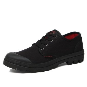 PINSV Canvas Men's Fashion Antiskid Sneaskers (Black) - INTL
