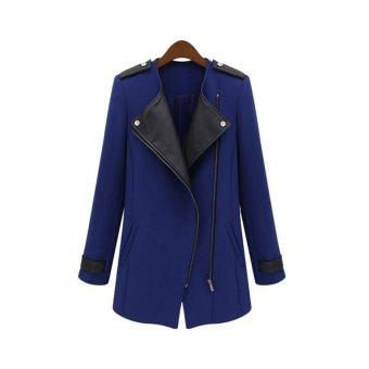 Cyber Winter Women's Long Warm PU Leather Sleeve Jacket Coat Parka Trench Windbreaker ( Blue ) (Intl)