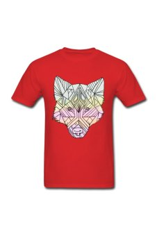Men's Geometric Wolf Custom T-Shirt for red - Intl