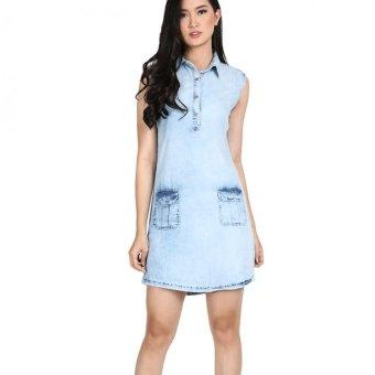Miyoshi Jeans Dfmy001Bl Sleveeless Dress Wanita Two Pocket - Biru
