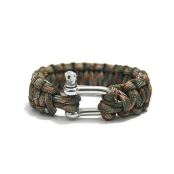 Outdoor Sports Survival U-shaped Stainless Steel Shackle Style Knitted Parachute Cord Rope Bracelet (Jungle Camouflage) - INTL