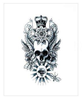 Autoleader Removable Waterproof Arm Body Art Temporary Skull &Flower Pattern Tattoo Sticker (Intl)